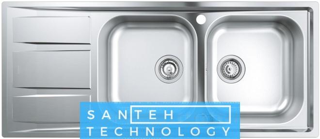 Мойка кухонная 1160x500x188 Grohe EX Sink 31587SD0 K400 двойная с крылом