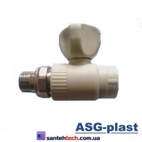 Кран ASG радиаторный прямой 25 без резинки